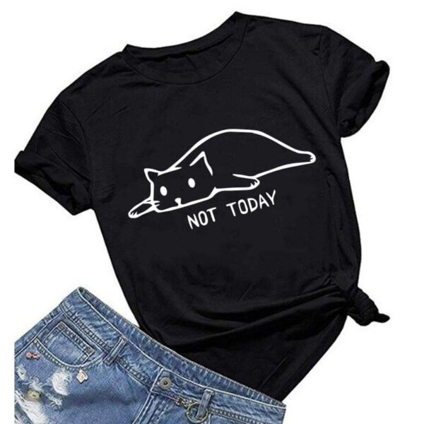 Women#x27;s Not Today Cat Tee Shirts Cute Graphic Tops Casual Short Sleeve T Shirts