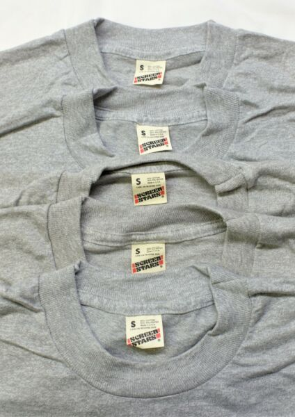 Lot of 5 New Old Stock Vintage Screen Stars Blank Gray 50 50 T Shirt SMALL