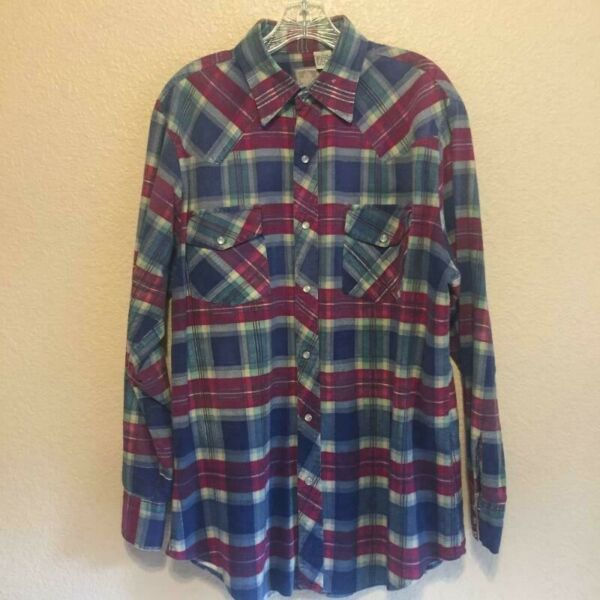 Outdoor Exchange Men's Maroon Red Blues Double Pockets 100% Cotton Shirt Tall L $19.95
