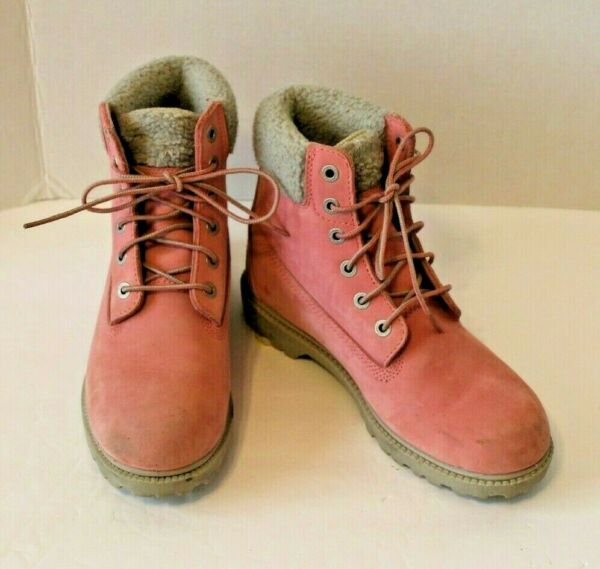 Womens Timberland Pink Suede Boots Shearling Trim Waterproof Size 8.5M $64.99