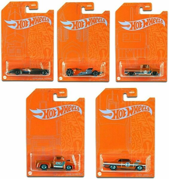 2021 Hot Wheels 53rd Anniversary Orange and Blue Series Set of 5 Cars 1 64 Scale $15.99