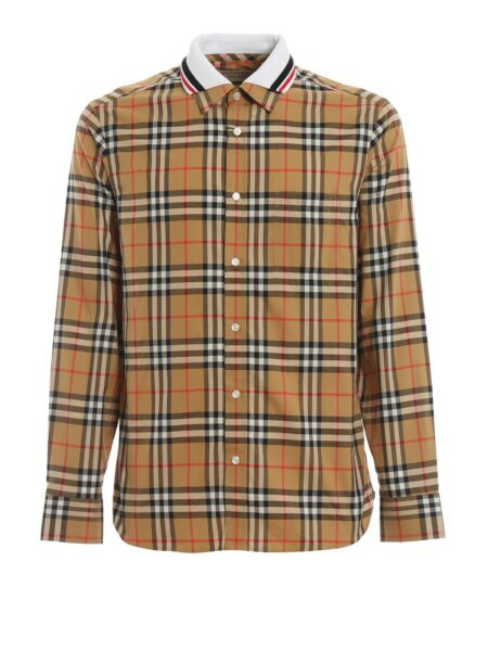 Authentic New BURBERRY Men#x27;s Camel Classic Check Button Shirt XXL White Collar $250.00