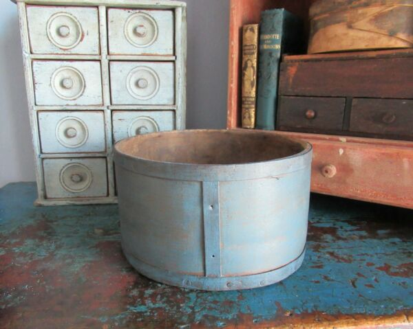 9quot; Antique Wooden Grain Measure Blue Paint Primitive Pantry Box Firkin