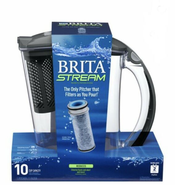 🔥Brita Stream Filter pitcher 10 cup Capacity Includes 1 Pitcher amp; 1 Filter New
