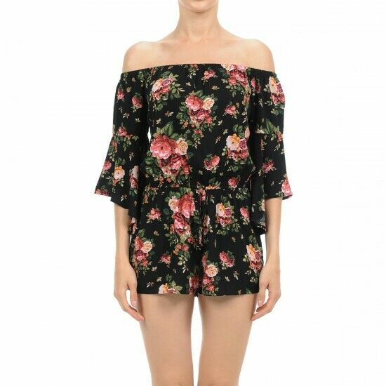 Floral Print Off The Shoulder Flounced 3 4 Sleeve Woven Romper $7.99