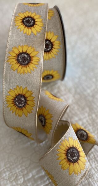 Burlap Style Sunflower Ribbon 10 Yards 2.5 Inch