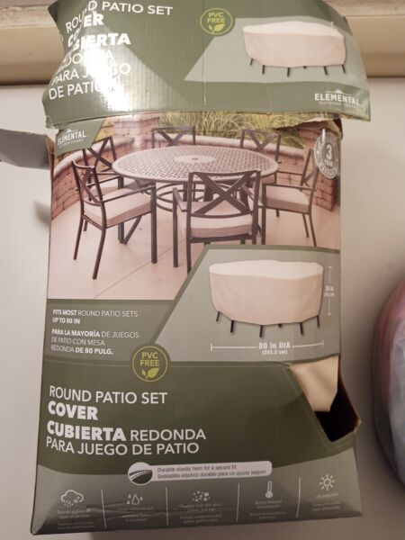 "NEW Elemental Outdoor Covers Taupe Round Patio Set Cover 80"" x 30"" $25.00"
