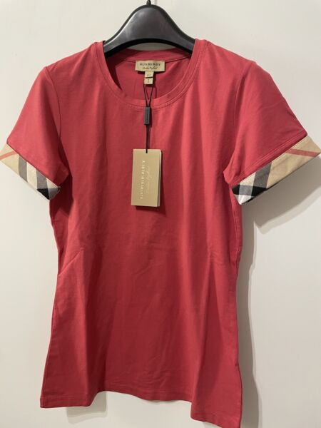 Burberry Womens Check Cuff Short Sleeved Tee Shirt Size XS、S、MBright Rose $99.99
