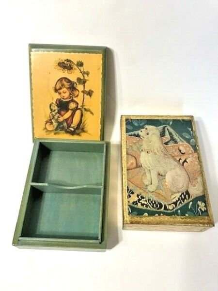 Two Vintage Boxes for Playing Cards or Collectibles Florentia Hand Made in Italy