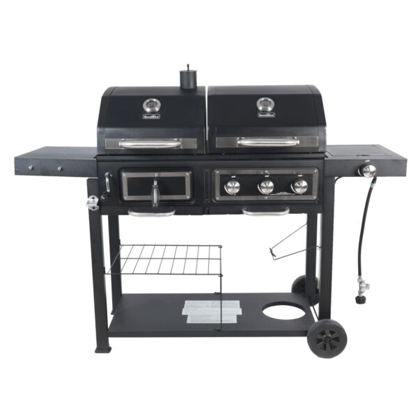 Dual Fuel Gas Charcoal Combo Barbeque BBQ Grill Black Stainless Cooking
