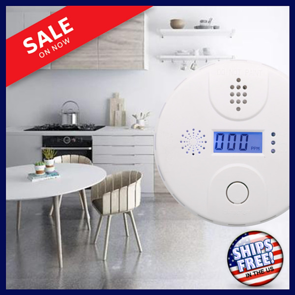 LCD Combination Carbon Monoxide Gas Detector Alarm Battery Warning Home Smoke US $10.50