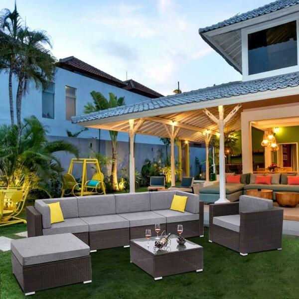 Livingroom Couch Furniture Wicker Rattan Conversation Sofa Patio Sectional Set