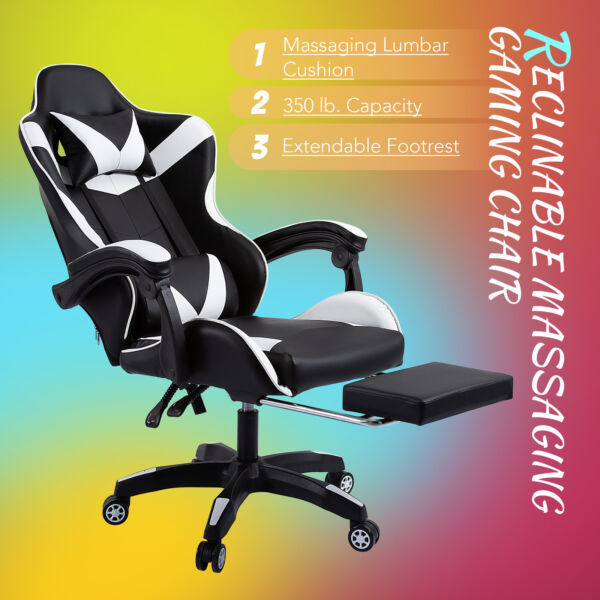 Ergonomic High Back Computer Desk Office Chair for Adults w Massage Footrest