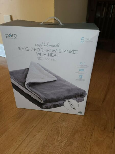 """Pure Enrichment Weighted 13lbs Throw Blanket with Heat 50""""x 60"""" $109.00"""