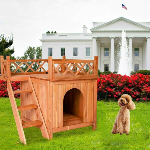 Wood Elevated Dog House Indoor Outdoor Pet Cat Shelter Kennel Condo Step Balcony $90.99