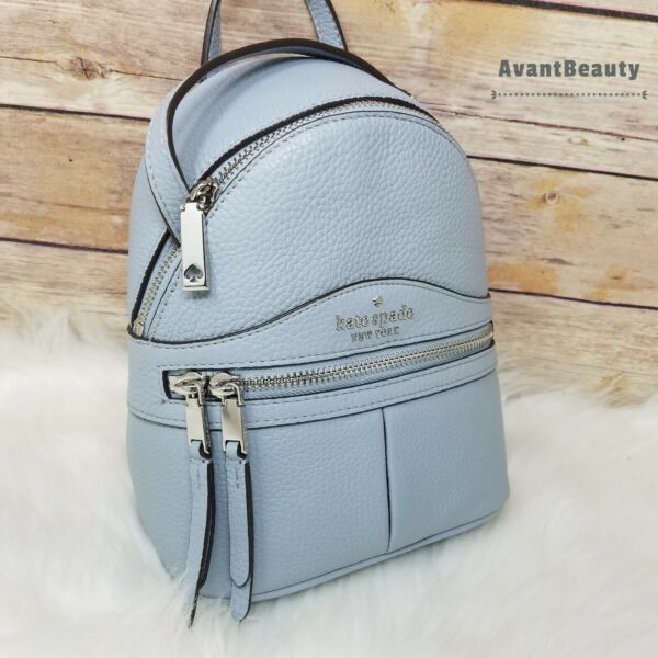 NWT Kate Spade Karina Mini Convertible Leather Backpack in Frosted Blue Leather $139.99