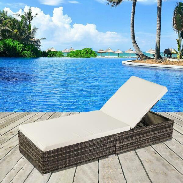 Adjustable Pool Chaise Lounge Chair Outdoor Patio Furniture Wicker w Cushion US $149.99