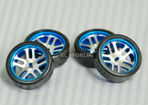 1 28 Mini Z Aluminum Drift Rim Set Front Rear 20x8mm w Drift Tires BLUE $19.99