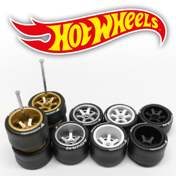 Hot Wheels TE37 DEEP DISH Real Riders Wheels and Tires Set for 1 64 Scale