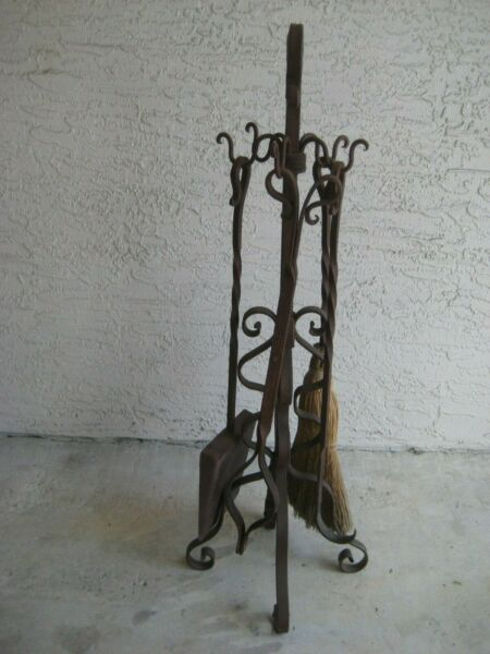 Vintage Fireplace Tool Set Indoor Wrought Iron 4 Pieces
