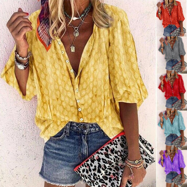 Summer Women Casual Short Sleeve T Shirt V Neck Tops Floral Loose Blouse Tunic