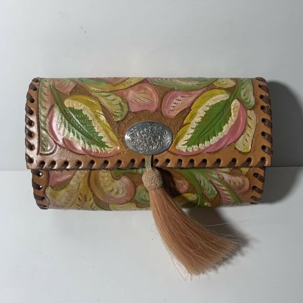 Vintage Char 2 Hand Tooled Leather Purse Small Crossbody Tassel Made In USA