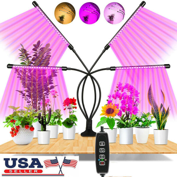 4 Heads Grow Light Full Spectrum Plant Growing Lamp for Indoor Plants 80 LED 80W $23.89