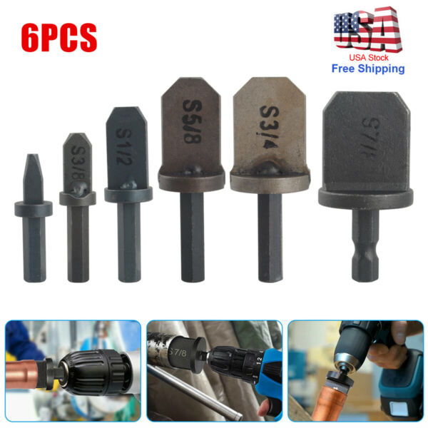 6Pcs Swaging Tool Drill Bit Air Conditioner Copper Pipe Flaring Tube Expander US $16.05
