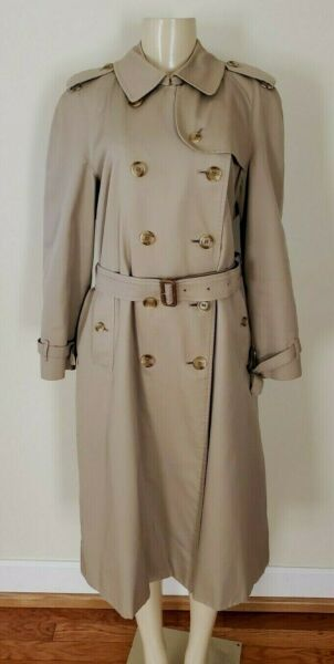 Women#x27;s Vintage Burberry Trench Coat With Belt Size 14 L $199.99