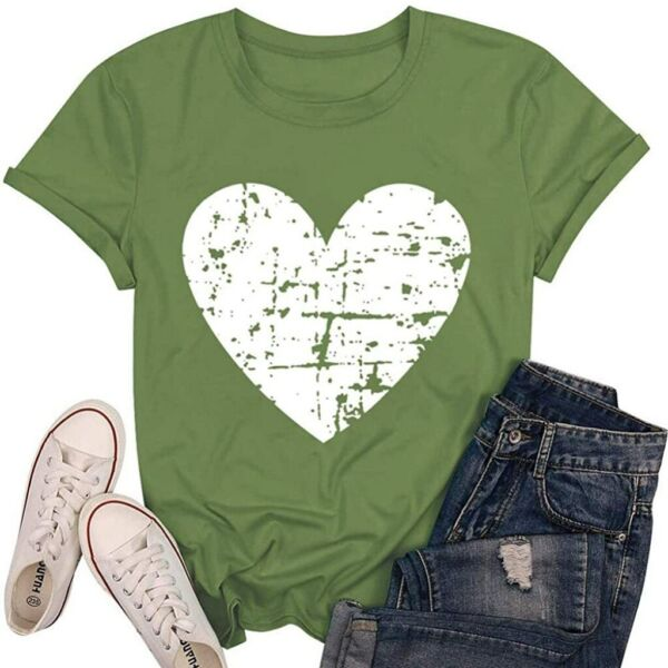 Womens Heart Short Sleeve T Shirt Ladies Summer Casual Loose Tunic Tops Blouses