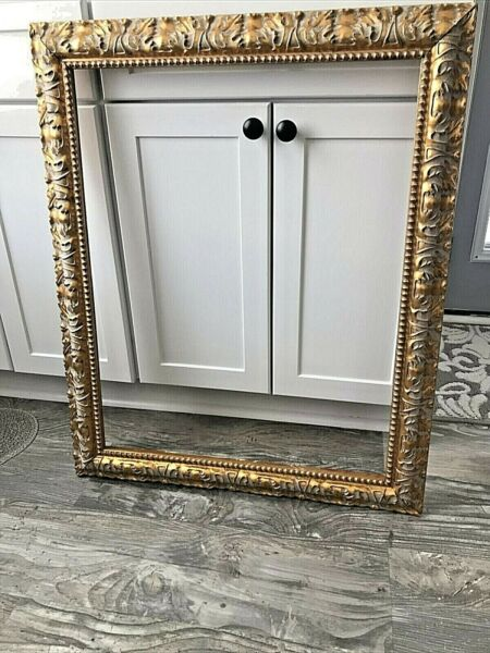Antique Vintage Ornate Large Wood and Gesso Gold Picture Frame 22quot; x 28quot; ID