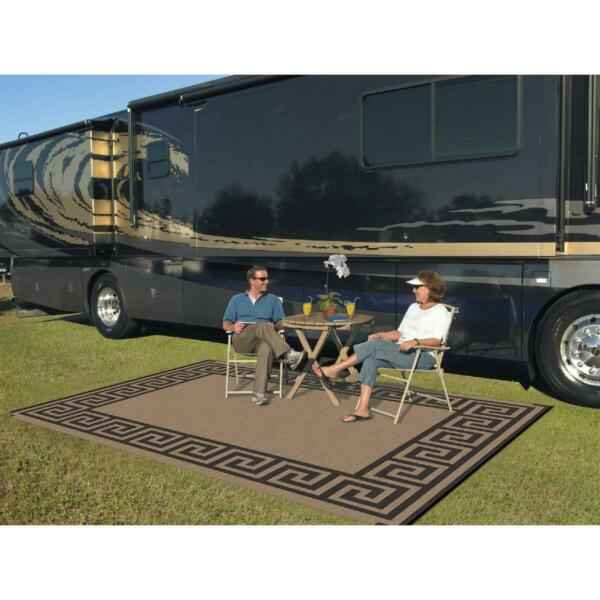 Patio Mat 9#x27; x 12#x27; Reversible RV Indoor Outdoor area Rug Camping Garden Portable