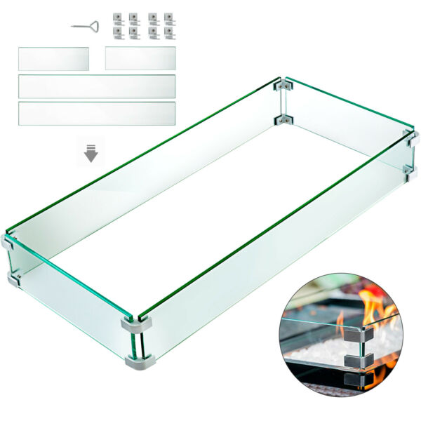 Outdoor Fire Pit Glass Wind Screen Flame Guard For Fire Pit Table 41.8quot;x18quot;x6quot;