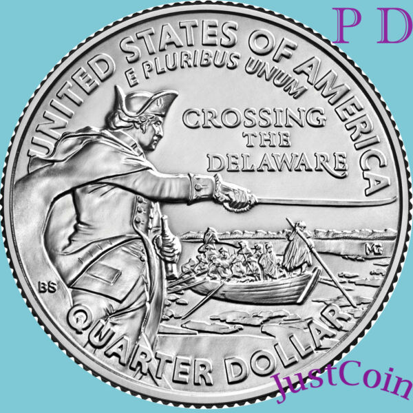 2021 Pamp;D GENERAL GEORGE WASHINGTON CROSSING DELAWARE TWO UNCIRCULATED QUARTERS