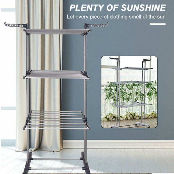 3Tier Stainless Portable Laundry Organizer Folding Rack Clothes Dryer Hanger $38.99