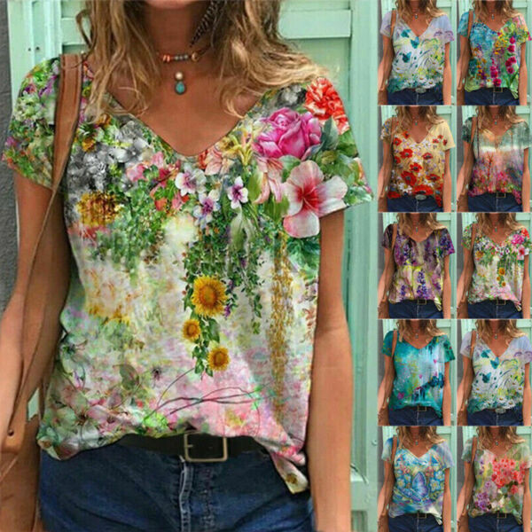 Summer Women Casual Floral Printing T Shirt Short Sleeve V Neck Blouse Loose Top $11.82