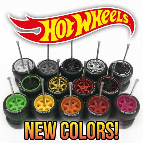 Hot Wheels 6 SPOKE DEEP DISH TE37 Real Riders Wheels and Tires Set 1 64 Scale $5.99