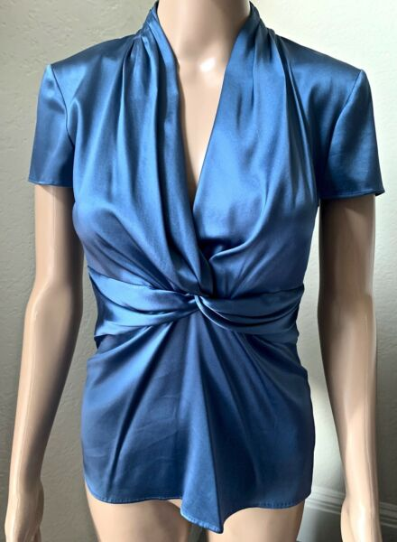ETRO Short Sleeve Silk Blouse Top Blue IT 42 US 6 S $95.00