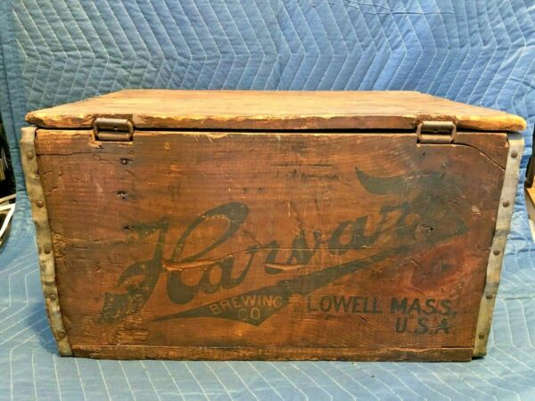 VERY Rare HARVARD BREWING Beer Crate Box w LID Lowell Mass True VINTAGE OLD