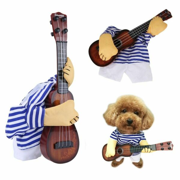 Christmas Small Large Pet Dog Costumes Guitar Player Coat Clothes Party Cosplay $9.66