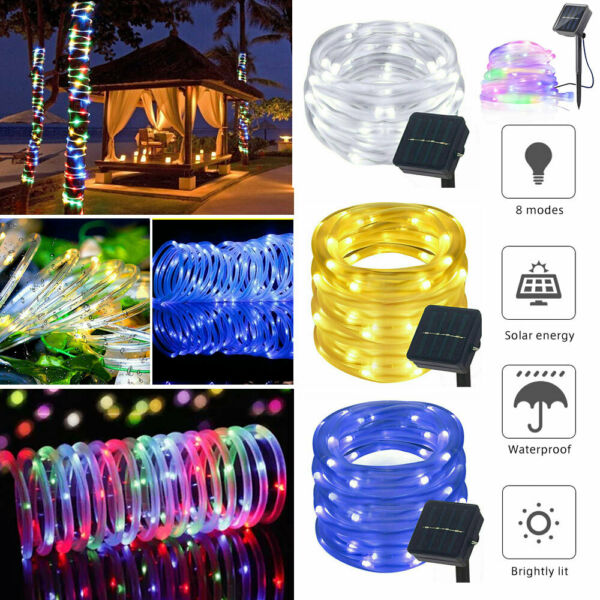 Tube LED Solar Power String Lights Outdoor Garden Fairy Rope Waterproof Lights $15.19