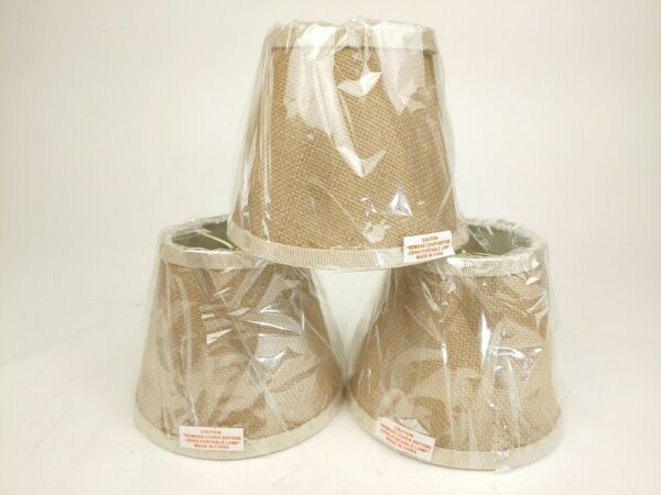 Lot of 3 Burlap Lamp Shade XS 5quot; Tall x 3.5quot; Top x 6quot; Bottom Clip On NEW