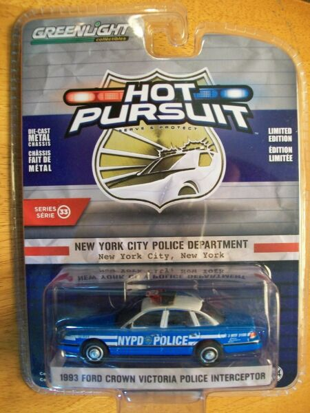 2019 Greenlight 1 64 Hot Pursuit NYPD #x27;93 Ford Crown Victoria Police Interceptor