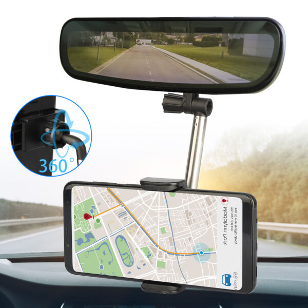 Universal 360° Car Rear View Mirror Mount Holder Stand Cradle For Cell Phone GPS $6.48