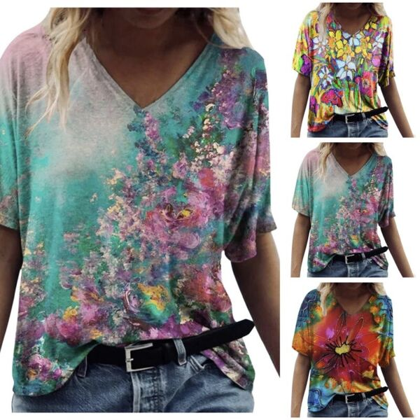 Summer Women Casual Short Sleeve T Shirt V Neck Floral Tops Loose Blouse Tunic