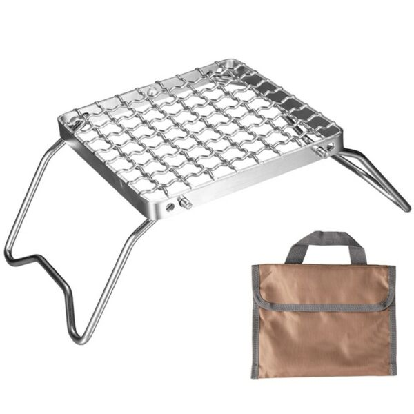 Folding Campfire Grill Barbecue BBQ Grate Portable Backpacking With Storage Bag