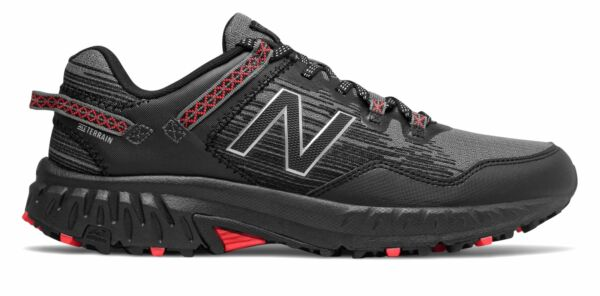 New Balance Men#x27;s 410v6 Trail Shoes Black with Grey amp; Red