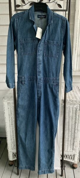 LUCKY BRAND XS Sparrow Boiler Suit Denim Coveralls Mechanic Jumpsuit Overalls $59.99