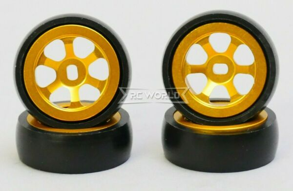 1 28 Mini Z Aluminum Drift Rim Set Front Rear 20x8mm w Drift Tires GOLD $19.99