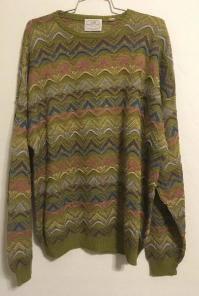 Mens Large Pronto Italian Knit Sweater Textured Striped 90's Cosby Coogi Style $35.99